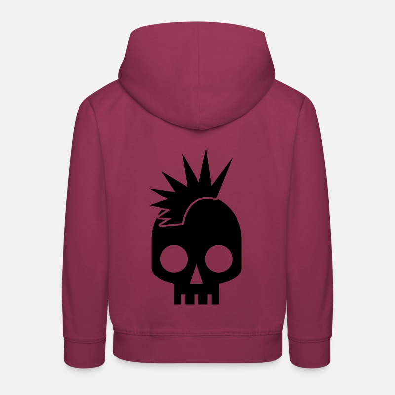 Cute Hoodies & Sweatshirts - PUNK BABY skull with mohawk - Kids' Premium Hoodie bordeaux