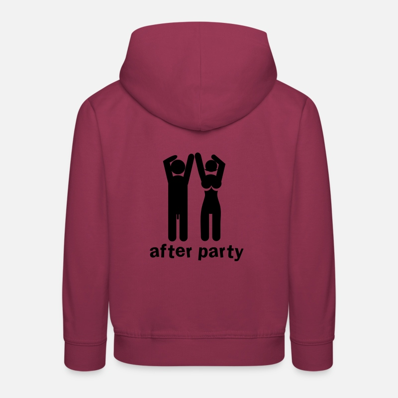 Rude Hoodies & Sweatshirts - after party naked man and woman with willy and boobs - Kids' Premium Hoodie bordeaux