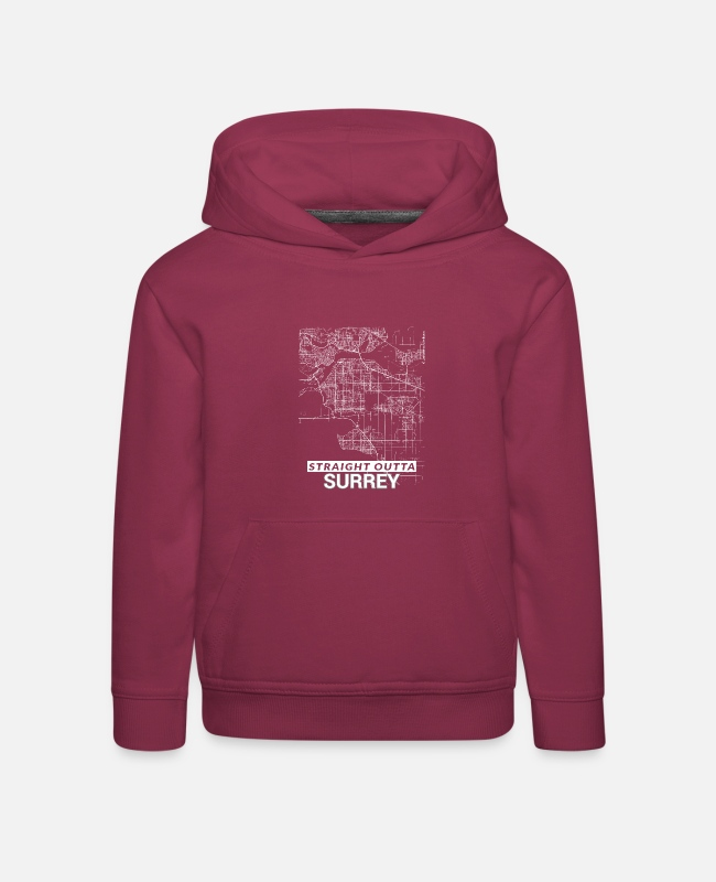 Cartography Hoodies & Sweatshirts - Straight Outta Surrey city map and streets - Kids' Premium Hoodie bordeaux