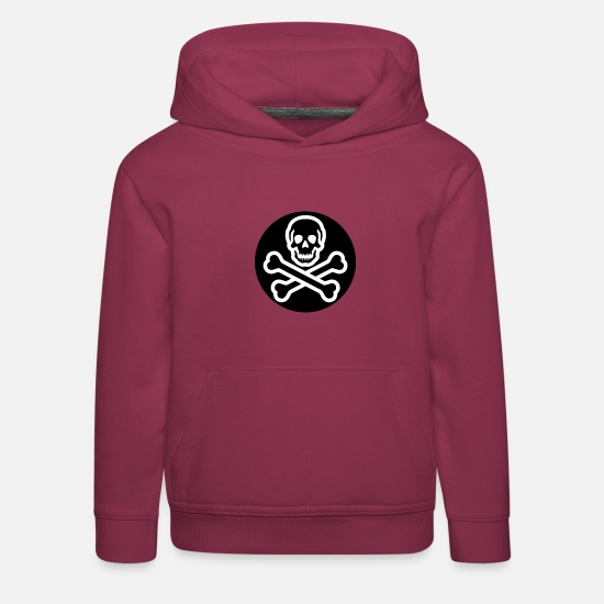 Pirate Hoodies & Sweatshirts - skull jolly roger - Kids' Premium Hoodie bordeaux