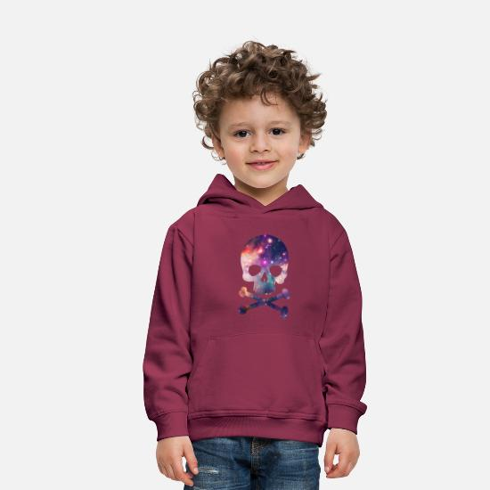 Cool Hoodies & Sweatshirts - Pink / Purple Universe - Space - Galaxy Skull - Kids' Premium Hoodie bordeaux