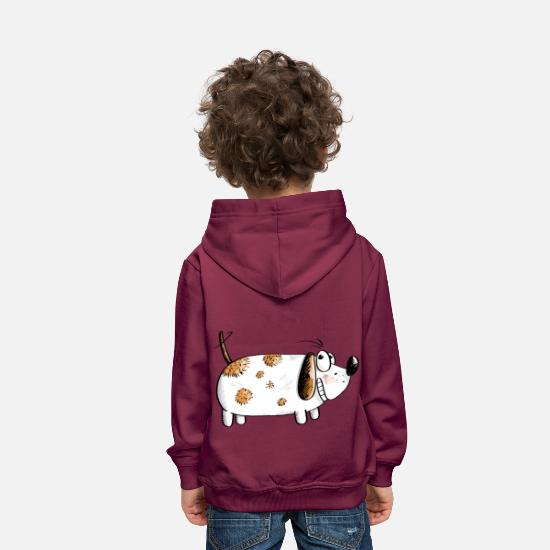 Cats And Dogs Collection Pullover & Hoodies - Dicker Lustiger Hund - Hunde Comic - Kinder Premium Hoodie Bordeaux