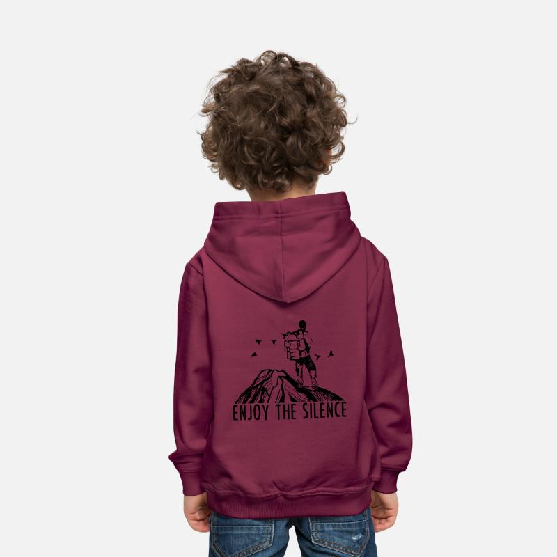 Outdoor Hoodies & Sweatshirts - Enjoy The Silence - Hiking Outdoor Nature Mountains - Kids' Premium Hoodie bordeaux