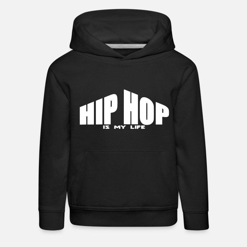 Hip Hop Sudaderas - hip hop is my life - Sudadera con capucha premium niño  negro f4d6edaa4f6