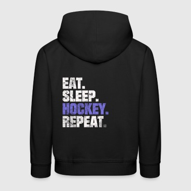 Eat Sleep HOCKEY HOCKEY REPEAT Sprüche REGALO - Felpa con cappuccio Premium per bambini