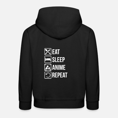 Geek Anime Food Sleep Repeat Geek Gift - Premium-Luvtröja barn