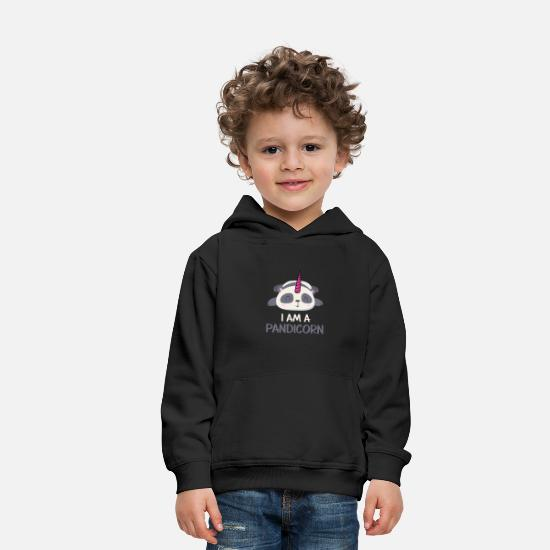 Doux Sweat-shirts - i sur un Pandicorn - Sweat à capuche premium Enfant noir