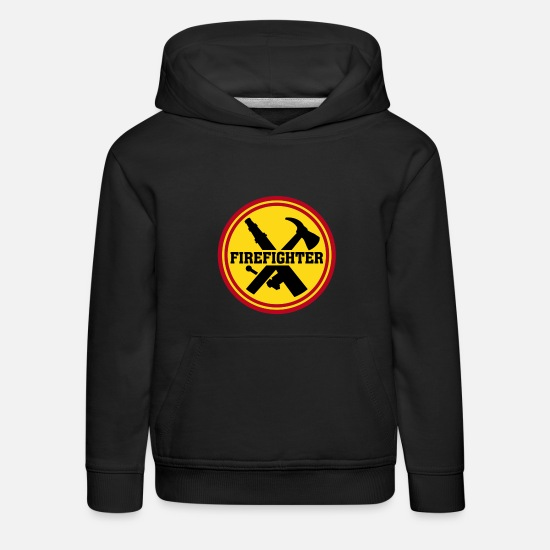 Brandman Tröjor & hoodies - Firefighter Brandman Brandkår Icon Fire Department T-shirts - Premium hoodie barn svart
