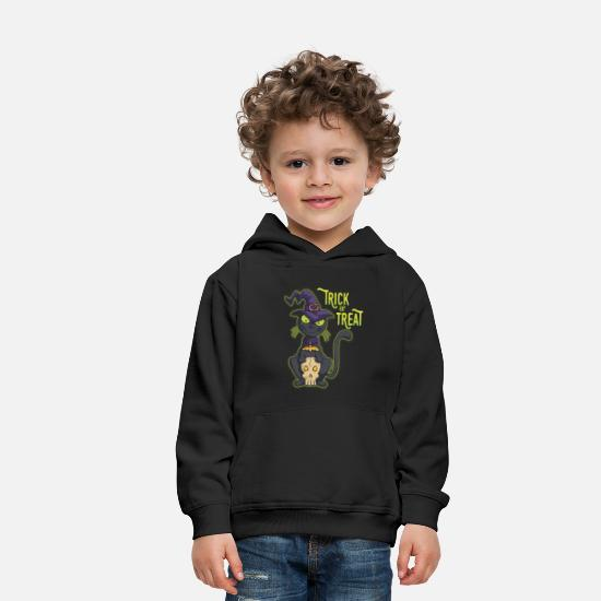 Halloween Hoodies & Sweatshirts - Halloween Black Witch Cat Trick or Treat - Kids' Premium Hoodie black