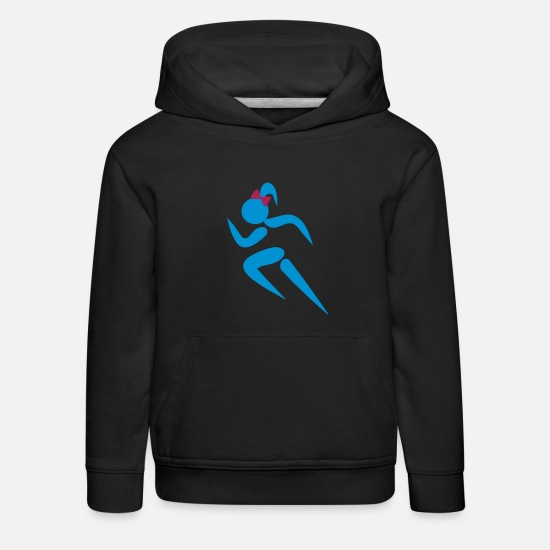 Baseball Basketball Softball Golf Rugby Union Archerty Badminton Beachy Volleyball Boxing Hoodies & Sweatshirts - ❤✦Sexy Female Sprinter Wearing a Pony tail✦❤ - Kids' Premium Hoodie black