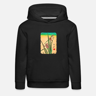 Cherry Utagawa Hiroshige Kingfisher on Iris - Kids' Premium Hoodie