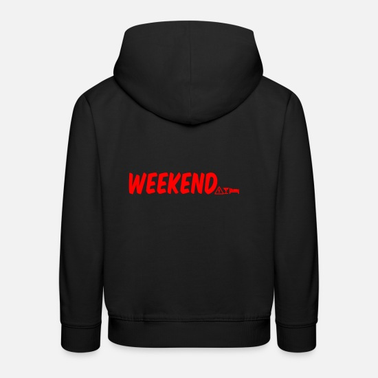Gift Idea Hoodies & Sweatshirts - finally weekend weekend design - Kids' Premium Hoodie black