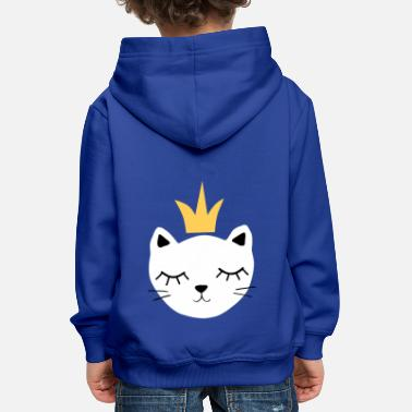 White cat with crown - Kids' Premium Hoodie