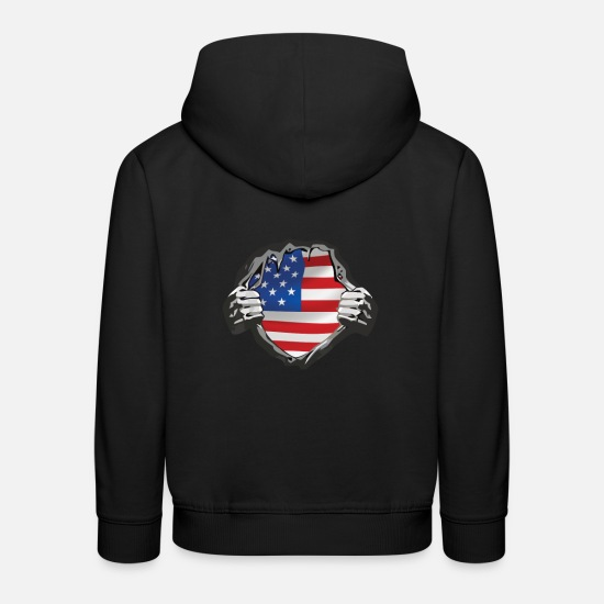Fierté Américaine Sweat-shirts - USA - my big love - Grands chemises et cadeaux - Sweat à capuche premium Enfant noir