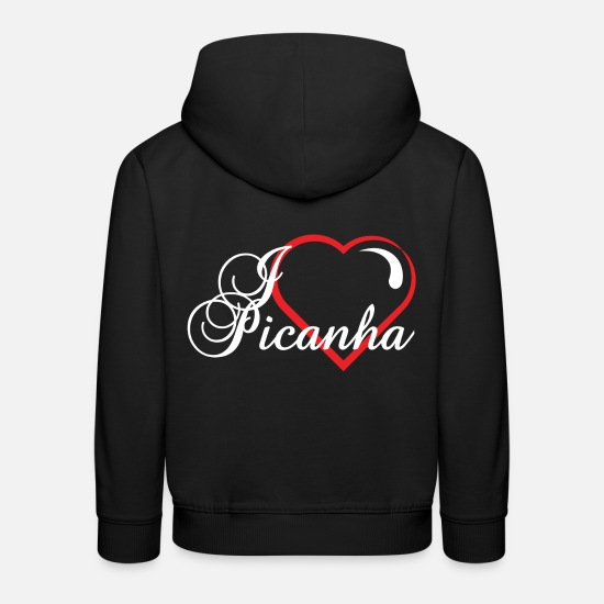Love Hoodies & Sweatshirts - I Love Picanha Tshirt Design Brazil Mean - Kids' Premium Hoodie black