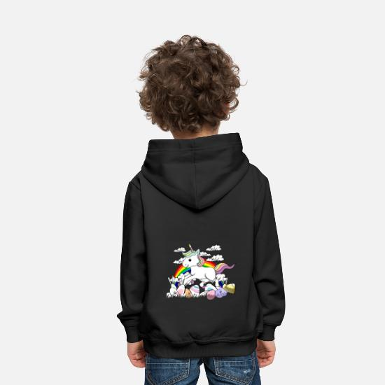 Easter Bunny Hoodies & Sweatshirts - Unicorn easter bunny Easter eggs - Kids' Premium Hoodie black