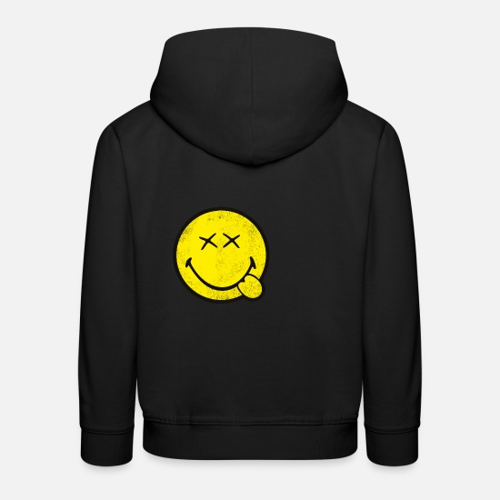 Coole Pullover & Hoodies - SmileyWorld Klassischer Smiley Used Look - Kinder Premium Hoodie Schwarz
