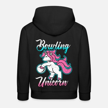 Girly Cute unicorn bowling sport family bowler girl - Kids' Premium Hoodie