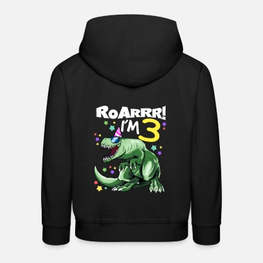 Dino ROAR I'm 3 years old - T REX Birthday DINO - Kids' Premium Hoodie