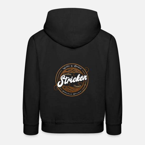 "Stricken Pullover & Hoodies - Stricken ""Oldschool Stricker"" - Kinder Premium Hoodie Schwarz"