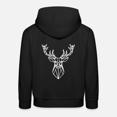 Stag Geometric deer gift idea white - Kids' Premium Hoodie
