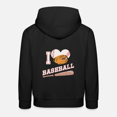 Sport Baseball I love baseball glove sports - Kids' Premium Hoodie