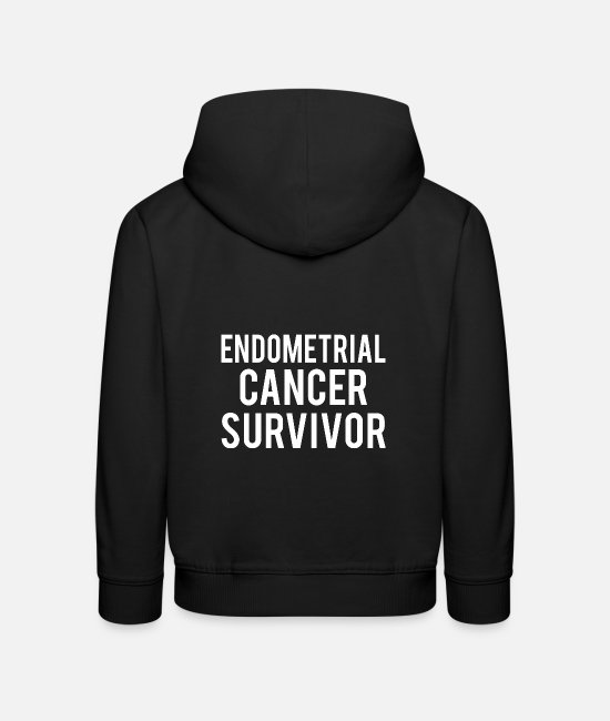 Ribbons Hoodies & Sweatshirts - Endometrial Cancer: Endometrial Cancer Survivor - Kids' Premium Hoodie black