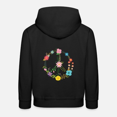 Peace Sign Peace Sign sign with flowers - Kids' Premium Hoodie