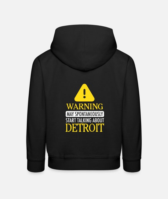 Detroit A Bas Sweat-shirts - ATTENTION!: Detroit - Sweat à capuche premium Enfant noir
