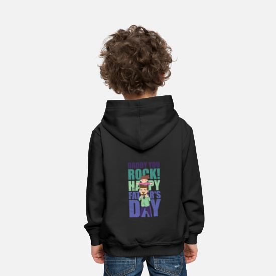 Birthday Hoodies & Sweatshirts - Father's Day Father's Day Daddy You Rock Shirt - Kids' Premium Hoodie black