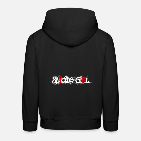 Girls Hoodies & Sweatshirts - Gothic Suicide Girl colorful white - Kids' Premium Hoodie black