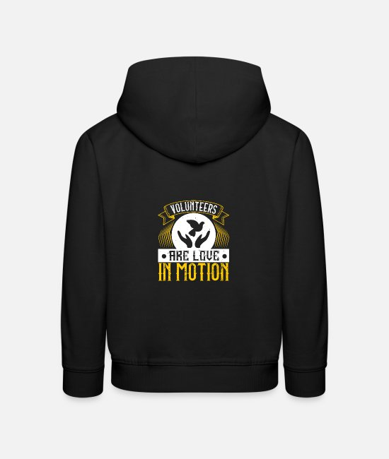 Fire Fighter Hoodies & Sweatshirts - Volunteers are love in motion - Kids' Premium Hoodie black