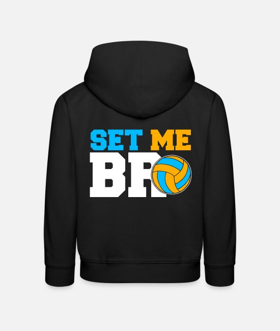Gift Sweaters & hoodies - Set Me Bro Volleyball Set volleybalteam - Kinderen premium hoodie zwart