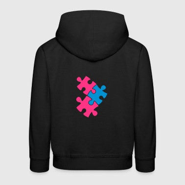 three jigsaw pieces fitting in two colour cute - Kids' Premium Hoodie
