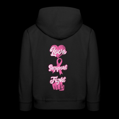 Shirt for breast cancer patients - love support - Kids' Premium Hoodie