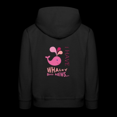 Pink Whale. Pregnancy announcement. New baby.SALE - Kids' Premium Hoodie