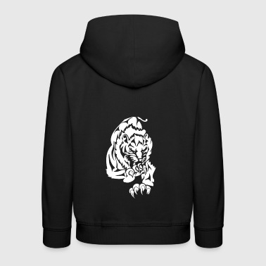 wild attacking big lion white - Kids' Premium Hoodie