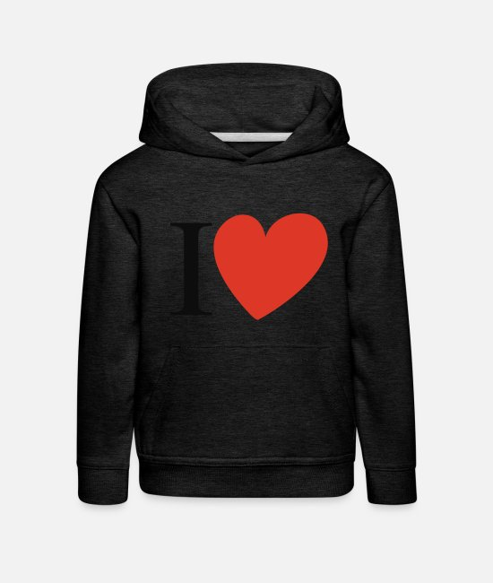 I Love Pullover & Hoodies - i heart - Kinder Premium Hoodie Anthrazit