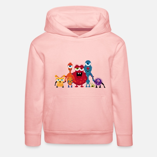Red Hoodies & Sweatshirts - A colorful monsters family - Kids' Premium Hoodie crystal pink