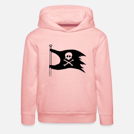 Rain Hoodies & Sweatshirts - pirate flag jolly roger kids - Kids' Premium Hoodie crystal pink