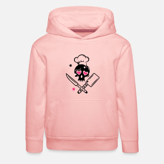 Love Hoodies & Sweatshirts - Skull girlie with cooking hat - Kids' Premium Hoodie crystal pink