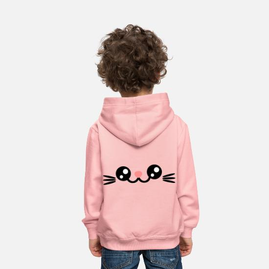 Émoticône Sweat-shirts - Les chats font face à Cats Eyes Sweet Chibi chaton - Sweat à capuche premium Enfant rose cristal