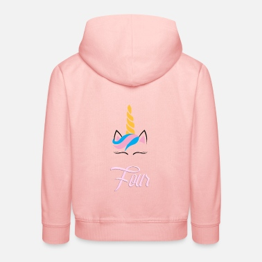 Years 4 years unicorn face gift birthday four - Kids' Premium Hoodie