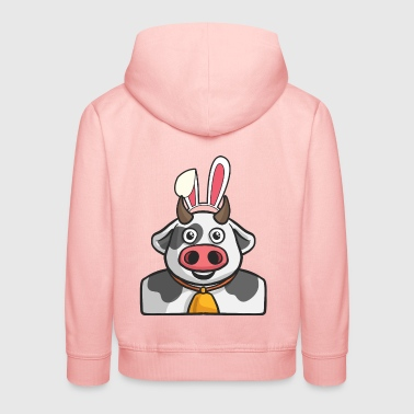 Cow Farmer Easter Bunny Happy Easter Gift Bunny - Kids' Premium Hoodie