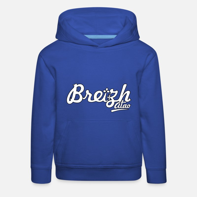 Bretagne Sweat-shirts - Breizh atao (2 couleurs) - Sweat à capuche premium Enfant bleu royal