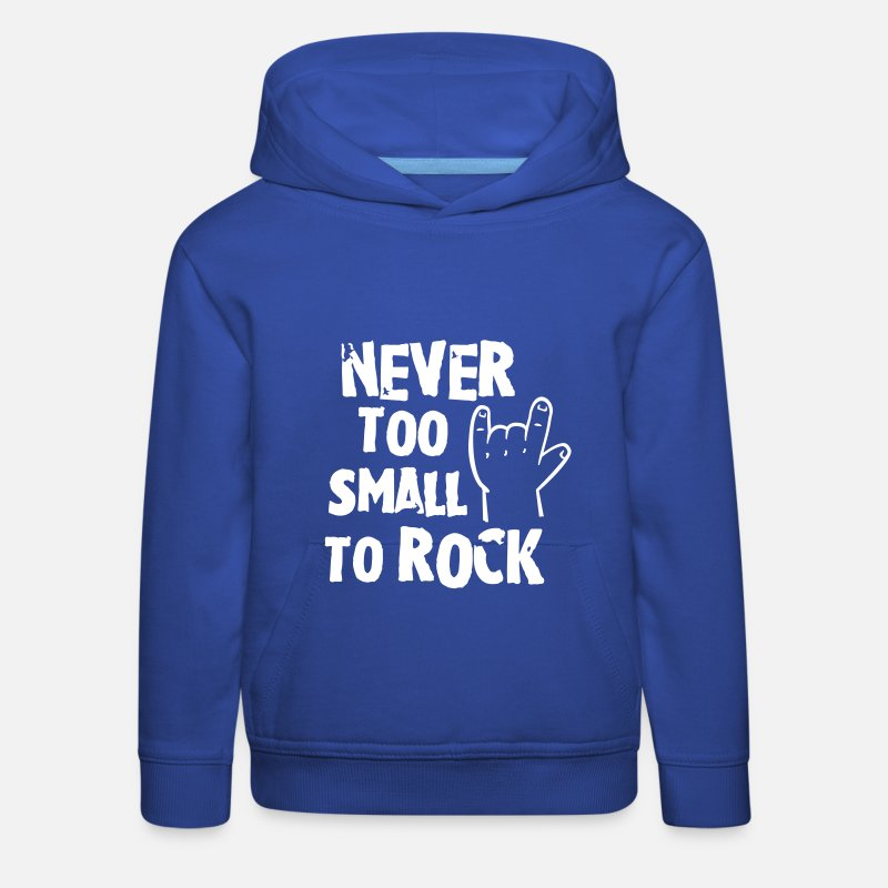 Bestsellers Q4 2018 Hoodies & Sweatshirts - never too small to rock - geburt - baby -kleinkind - Kids' Premium Hoodie royal blue