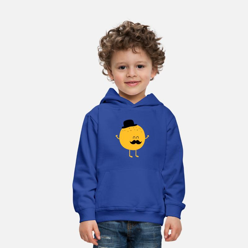 Lustige Pullover & Hoodies -  Funny Orange with Mustache - Kinder Premium Hoodie Royalblau
