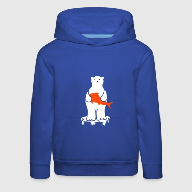Polar bear with fish - Kids' Premium Hoodie