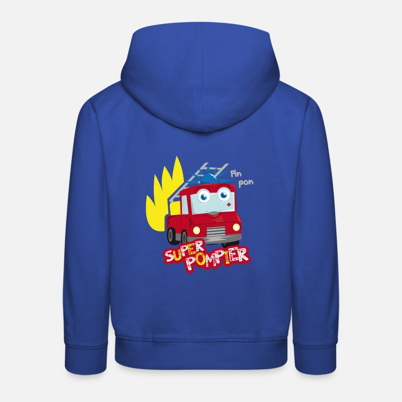 Pompier Sweat-shirts - camion de pompier - Sweat à capuche premium Enfant bleu royal