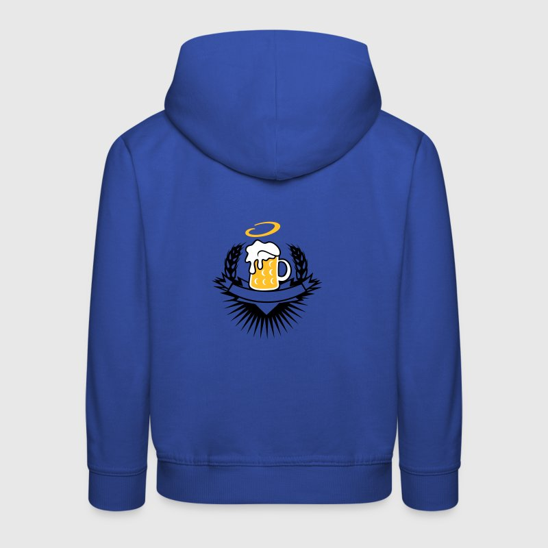 beer in a beer mug with ears of wheat and halo - Kids' Premium Hoodie